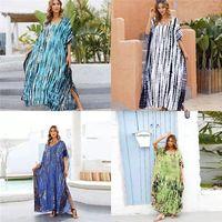 Летние платья Пляжное покрытие UP Wrap платье V шеи бикини купальник женщины плюс размер леди красивый платок костюма