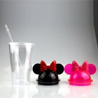 9 Suitable Lids 15oz Clear Mouse Ear Tumblers with Straw 450ml Mouse Ears Mug Acrylic Plastic Water Bottles Cute Kid Cups EWD8855