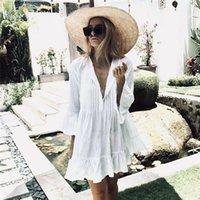Casual Dresses Women Dress Elegant V Neck Mini Summer Ruffle Ladies Loose Woman Party Night Clothes Sundress