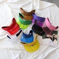 Mulheres verão uv proteção sol viseira plástico chapéu de golfe esporte largo borda