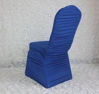 Stolskydd 100st Royal Blue Ruffled Lycra Spandex Stretch för Bröllop Bankett El Party Decoration