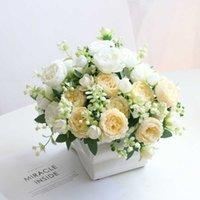 5 головок персидские розы искусственный пион букет дома домашнее свадебное украшение гостиной таблицы украшения поддельных цветов NANAIRO y0728