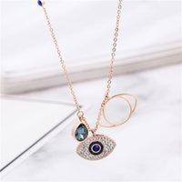 Blue Evil Eye Pendentif Colliers Glafe Out Rose Gold Turquie Femmes Titaniun Steel Bijoux En acier Filles Fashion Strass Link Chain Chaîne de chauge ZZA6158