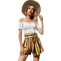 Women's Tracksuits Summer Suit One-Shoulder Single-Breasted Short-Sleeved Striped High-Waist Shorts Set With Wooden Ears
