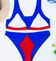 One-Piece Suits Sexy Splicing Mid Waist Swimwear Female Swimsuit Two-pieces Bikini Set Patchwork Suit Swim Women Two Pieces Cn(origin)