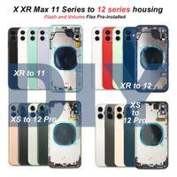 DIY Muhafazaları iPhone XR Dönüştür XD Gibi X XS için 12 11 Pro Max Pil Arka Kapak Geri Cam Orta Çerçeve Şasi Tam Konut Meclisi