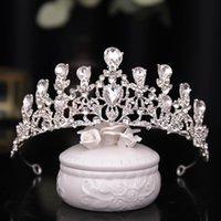 Hair Clips & Barrettes Luxury Rhinestone Beads Heart Bridal Tiara Crown Jewelry Crystal Diadem Veil Tiaras Wedding Accessories Headpieces