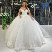 Sparkly Lace Appliqued Ball Gown Wedding Dresses Beaded Off The Shoulder Neck Sequined Bridal Gowns Sweep Train Tulle robe de mariée