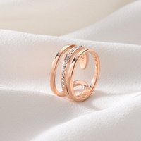 New Popular Top Quality Rose Gold Stainless Steel Brand Finger Ring Size 6 7 8 9