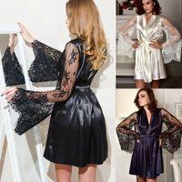 US Local Fashion Kwiatowe Koronki Kobiety Kimono Szata Koszulka NightGown Nightwear Sleepwear Wedding Party Dress