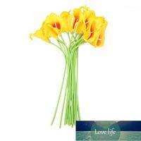 18X 인공 칼라 백합 꽃 단일 긴 줄기 꽃다발 진짜 가정 장식 색상 : yellow1