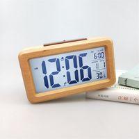 Ahşap Dijital Çalar Saat, Snoöze Tarih Sıcaklık Saati ile Sensör Gece Işık LED İzle Masa Duvar Saatleri CCF7115