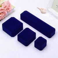 Fashion carré Velvet Bleu Boîtes Boîtes Emballage pour Pendentif Collier Anneaux Bracelet Bracelet Engagement De Mariage Display Case 316 Q2