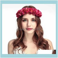 Decorative Flowers Wreaths Festive Party Supplies Home & Garden6 Colors High Quality Many Rose Flower Garland Crown Headband Floral Wreath B