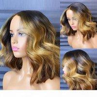 Ombre Blond Lace Front Front Human Hair Perücken Für Schwarze Frauen 1b 27 farbige brasilianische Remy Prepped 250% 13x4 Wellenartige Bob Perücke