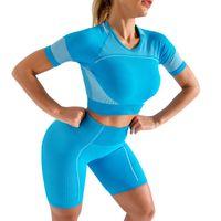 Designer Yoga Sportwear Trainingsanzüge Fitness BH Kurzarm T-Shirt Shorts Tops Leggings Outdoor Outfits Sport Hosen Gymnastik Tragen Kleidung Anzug YOGAWORLD Runing Set