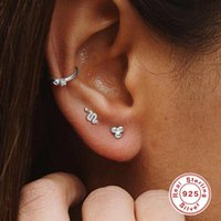 Stud Punk 925 Sterling Silver Earrings For Women Gold Evil Eye Girl Cartilage Ear Bone Snake Zircon Aretes C4