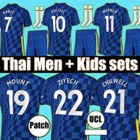 태국 20 21 22 Phycic Kante Havertz 마운트 축구 유니폼 2021 2022 Chilwell Ziyech Werner Camiseta de Football 남자 키트 셔츠 탑 유니폼