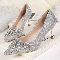 Kitten saltos mulheres bombas lantejoulas sapatos altos ouro prata casamento fashionback 210610 khde