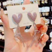 Earrings Dangle Chandelier Jewelry for women Rhinestone Diamond Crystal Heart Pink temperament long love micro Zircon female Earring