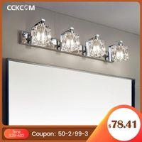 Lampes murales fuyant la lampe cristalline moderne LED salle de bain maquillage miroir lumineux chambre couloir acier inoxydable meuble allumage