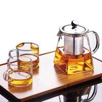 Прозрачный боросилитический стеклянный чайник с инфузором из нержавеющей стали, прозрачный элегантный стеклянный чай чая чайник чайник горшок ZZE8558