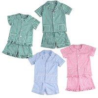아이 의류 100 % 코튼 여름 반팔 잠옷 Seersucker Girls Sleepwear 210908