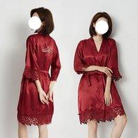 Women's Sleepwear QWEEK Silk Bride&Bridemaid Wedding Robe Gown Women Lace Embroidery Satin Bathrobe Exotic Kimono 2021 Summer Albornoces