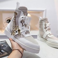 autumn winter Boots men Ladies Fashion couple Shoes Designer Silk Cowhide Leather High Top Flat Ankle Bootis higt quality with b
