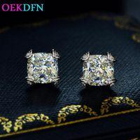 여성을위한 실제 925 스털링 실버 스터드 귀걸이 높은 탄소 다이아몬드 보석 쥬얼리 화이트 G 컬러 선물