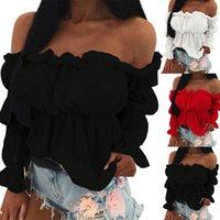 Рубашки женские блузки сексуальные сплошные цветные длинные пузырьки рукав с плечо взъерошенные края коротким досуг блузка