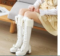 Boots Brand Chunky Heels Sweet Bow Tie Shoelaces Warm Fur Winter Lolita Stylish Calf Boot Chic Women Shoes Size 30-43