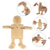 Когня кукла конечности подвижные деревянные роботы игрушки деревянные кукла DIY ручной работы белый эмбрион кукол для детской живописи HWF7607