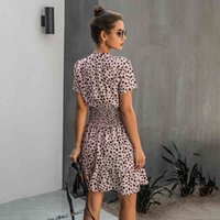 Dress Women Leopard Casual Black Summer Ruffle Mini Dresses Buttons Ladies Purple Waisted Fitted Clothing Womens Clothes