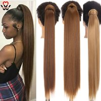 Synthetic Wigs MANWEI 24 Inch Long Straight Clip Hair Tail Natural Fake Wrap Around Ponytail