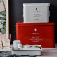 Metal Tıp Kutusu Taşınabilir Acil Tıbbi Seti Büyük Kapasiteli Çok Katmanlı Saklama Kutusu Ev Sağlık Tıp Göğüs Dolabı 210331