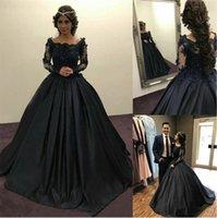 Nouveau pied de la femme femme femme femme fille formelle applique robe de soirée une ligne à manches longues scoop satin noir coutume