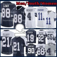 2021 رجل كرة القدم 88 Ceedee Lamb Youth 11 Micah Parsons 4 Dak Prescott 21 Ezekiel Elliott 55 Leighton Vander Esch 19 Amari Cooper 9 Jaylon Smith Jersey