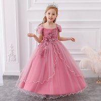 Flower Toddler Baby Girl Infant Princess Long Sequined Dresses Kids Wedding Asymmetrical Skirt lace tutu Children Party Vestidos Dress for Birthday Costumes