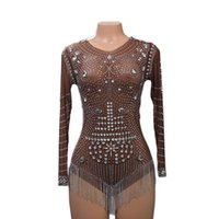 Stage Wear Shiny Rhinestone Pearls Transparent Short Bodysuits Women Dancer Long Sleeve Outfit Birthday Celebrate Prom