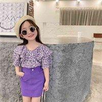 Summer Kid Clothes Korean Fashion Flower Lotus Leaf Collar Shirt&skirt Little Girls Clothing Set Purple Children Outfits 210727