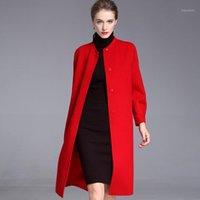 Lange Wollmischungen Kaschmirmäntel für Frauen 2020 Herbst Winter Damenjacken plus Größenüberzug doppelseitig rot mode1
