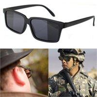 Occhiali retrovisori Uomini Donne Vintage Black Square Shades Riflettente Vedi dietro gli occhiali da sole con lo specchio su occhiali da sole laterali