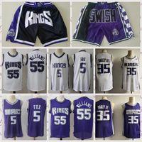 2021 homens vintage jersey de basquete retro de'aaron 5 raposa marvin 35 bagley jason 55 williams camisas respirável shorts preto azul tamanho branco s-2xl