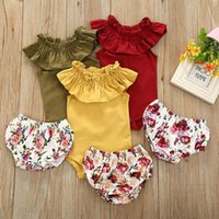 Infant Clothing Sets Girls Outfits Baby Clothes Kids Suits Summer Cotton Rompers Jumpsuit Bodysuits Flower Shorts Newborn Wear B6496