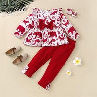 Clothing Sets ZAFILLE 1-6Y Toddler Kids Christmas Costume For Baby Girl Clothes Children's Deer Long T-shirt+Pants Gril Outfit