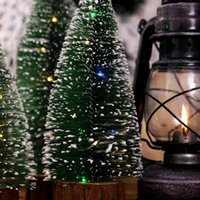 Christmas Decorations THY- Artificial Pine Tree On Round Wooden Base With Battery Powered LED Light String Xmas Gift Tabletop Decor