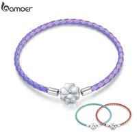 bamoer 925 Sterling Silver Lucky Three Color Real Leather Bracelet Clover European for Women DIY Fine Jewelry