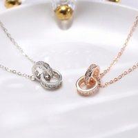 Collana cerchio a doppio anello 18K oro semplice gioielli creativo personalizzato personalizzato personalizzazione del regalo all'ingrosso