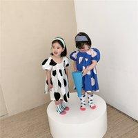 Girls big polka dots Dresses INS Summer Children Palace puff sleeve doll dress kids cotton clothing A6461